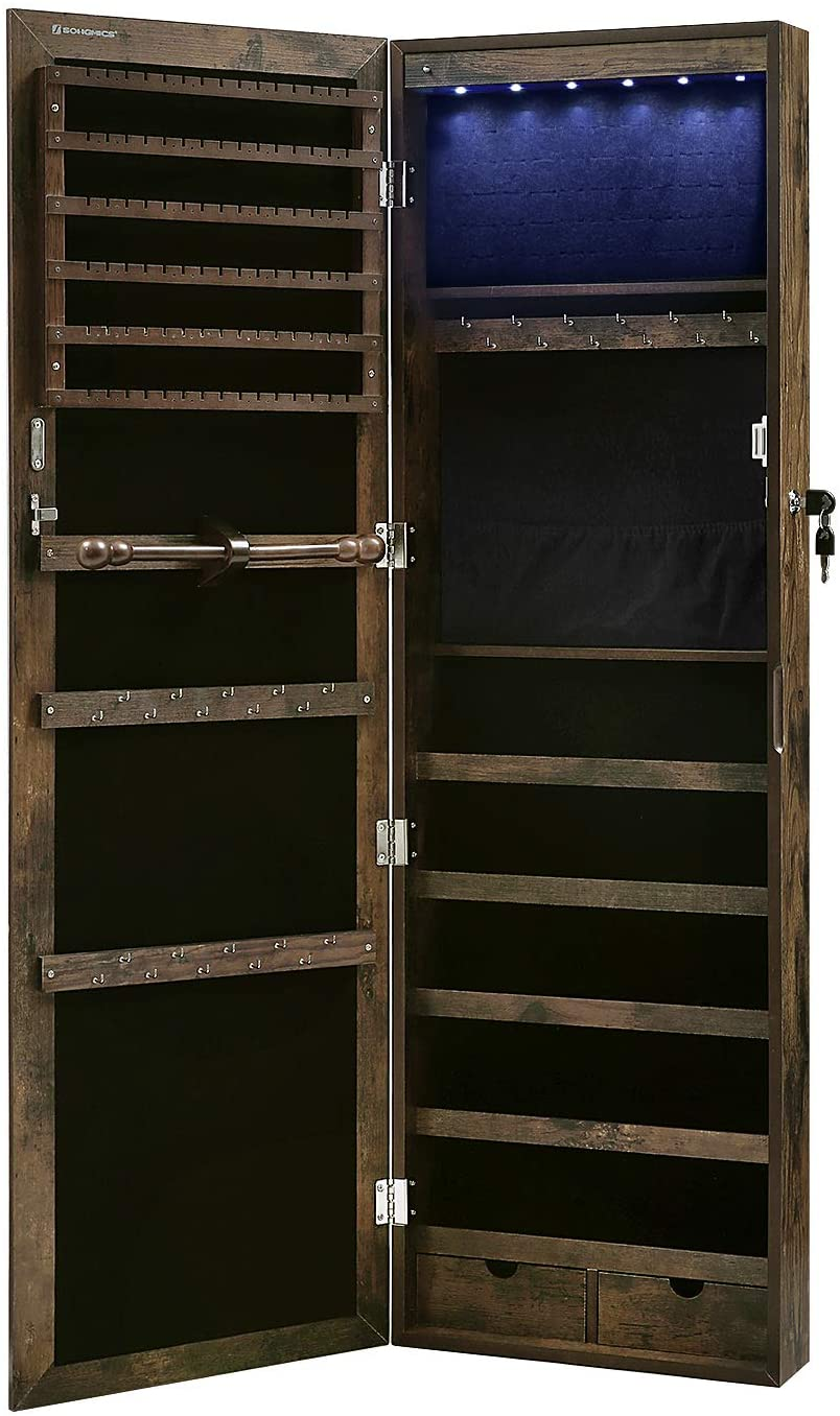 Enjoy fast, free nationwide shipping!  Owned by a husband and wife team of high-school music teachers, HawkinsWoodshop.com is your one stop shop for affordable furniture.  Shop HawkinsWoodshop.com for solid wood & metal modern, traditional, contemporary, industrial, custom, rustic, and farmhouse furniture including our Rustic Brown Lockable Jewelry Cabinet.