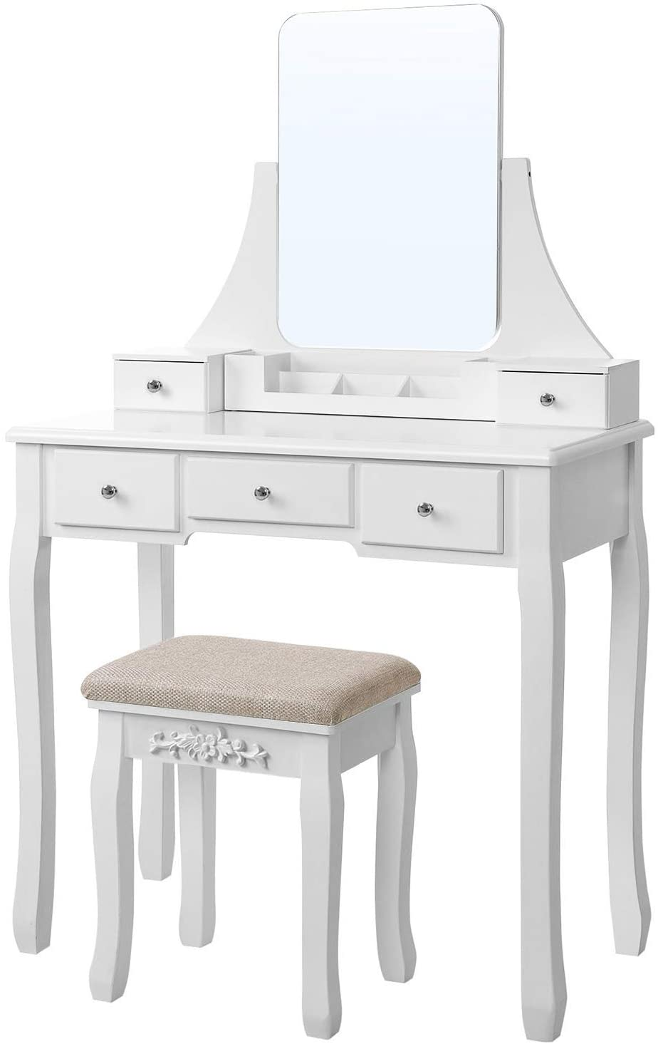 Enjoy fast, free nationwide shipping!  Family owned and operated, HawkinsWoodshop.com is your one stop shop for affordable furniture.  Shop HawkinsWoodshop.com for solid wood & metal modern, traditional, contemporary, industrial, custom, rustic, and farmhouse furniture including our White Frameless Mirror Vanity Set with Cushioned Stool.