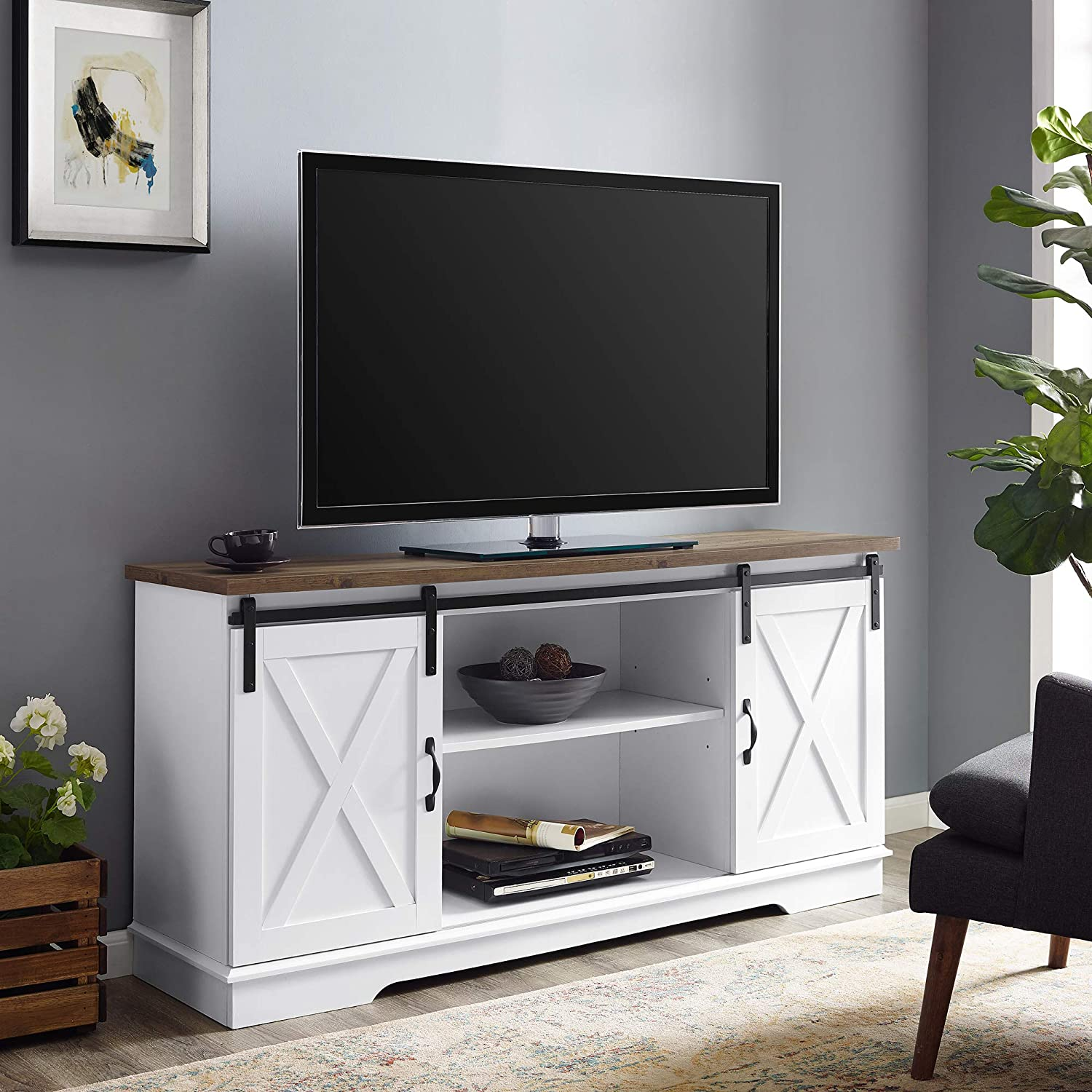 Modern White Farmhouse Sliding Barn Door TV Stand
