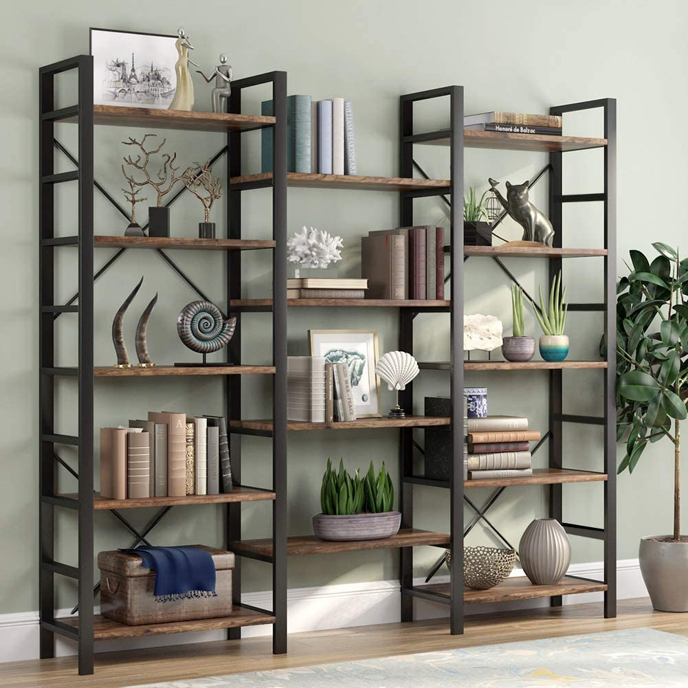Triple Wide 5-Shelf Bookcase