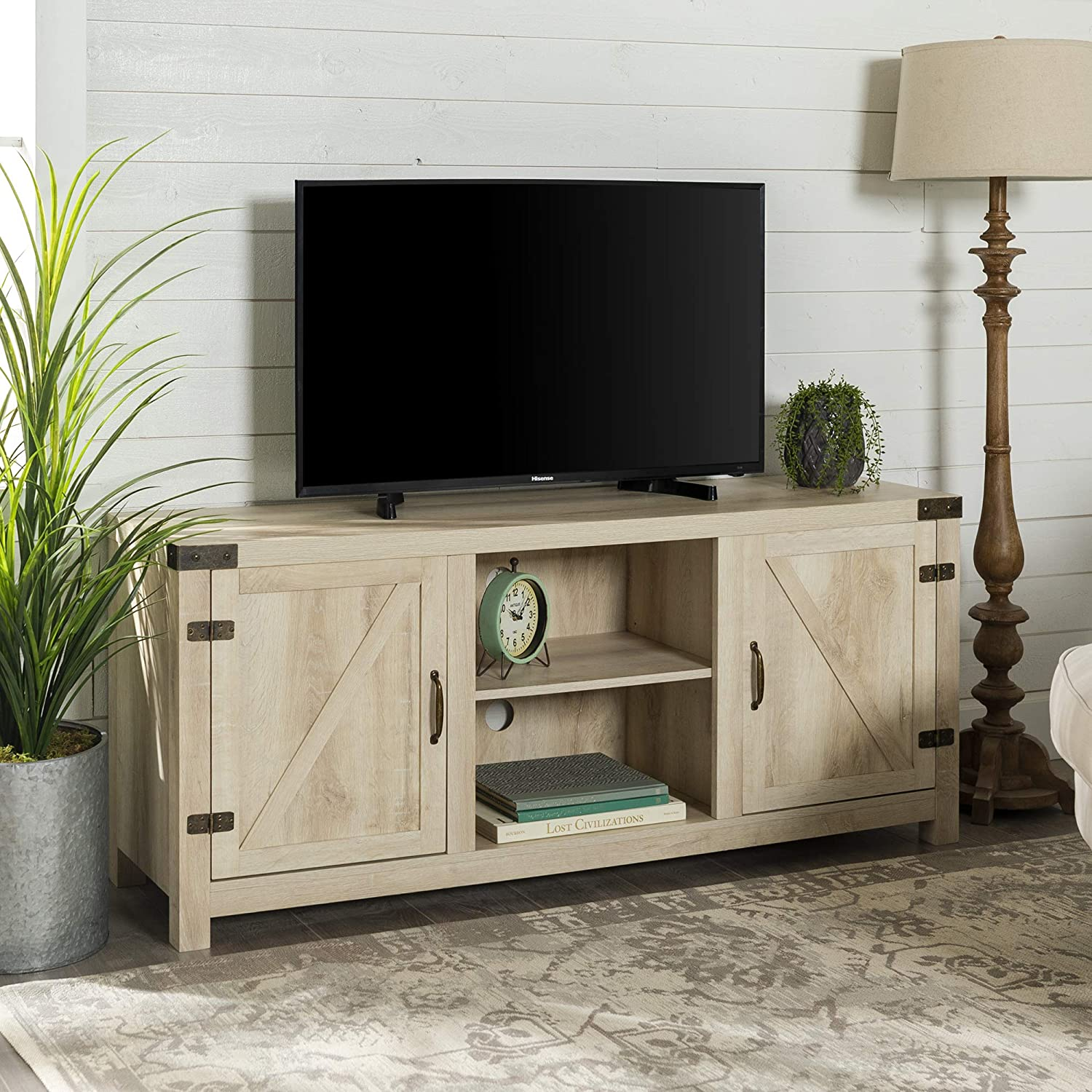 Modern Farmhouse Double Barn Door TV Stand