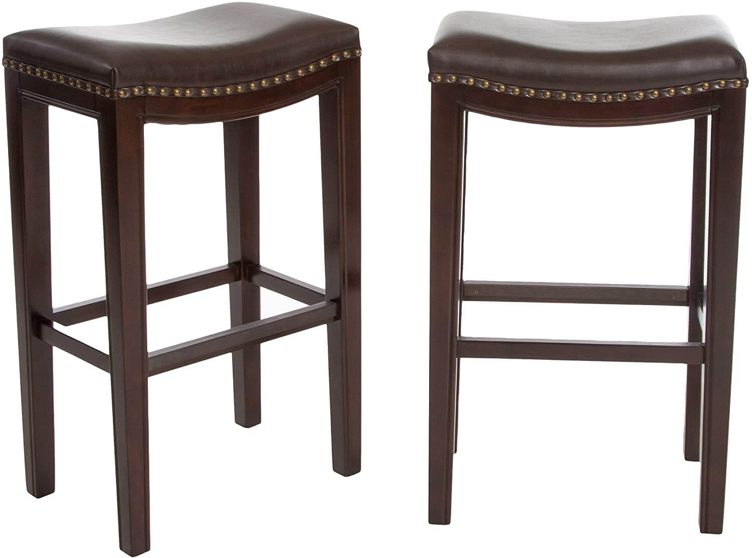 2-Pcs Set Backless Modern Bar Stools in Brown