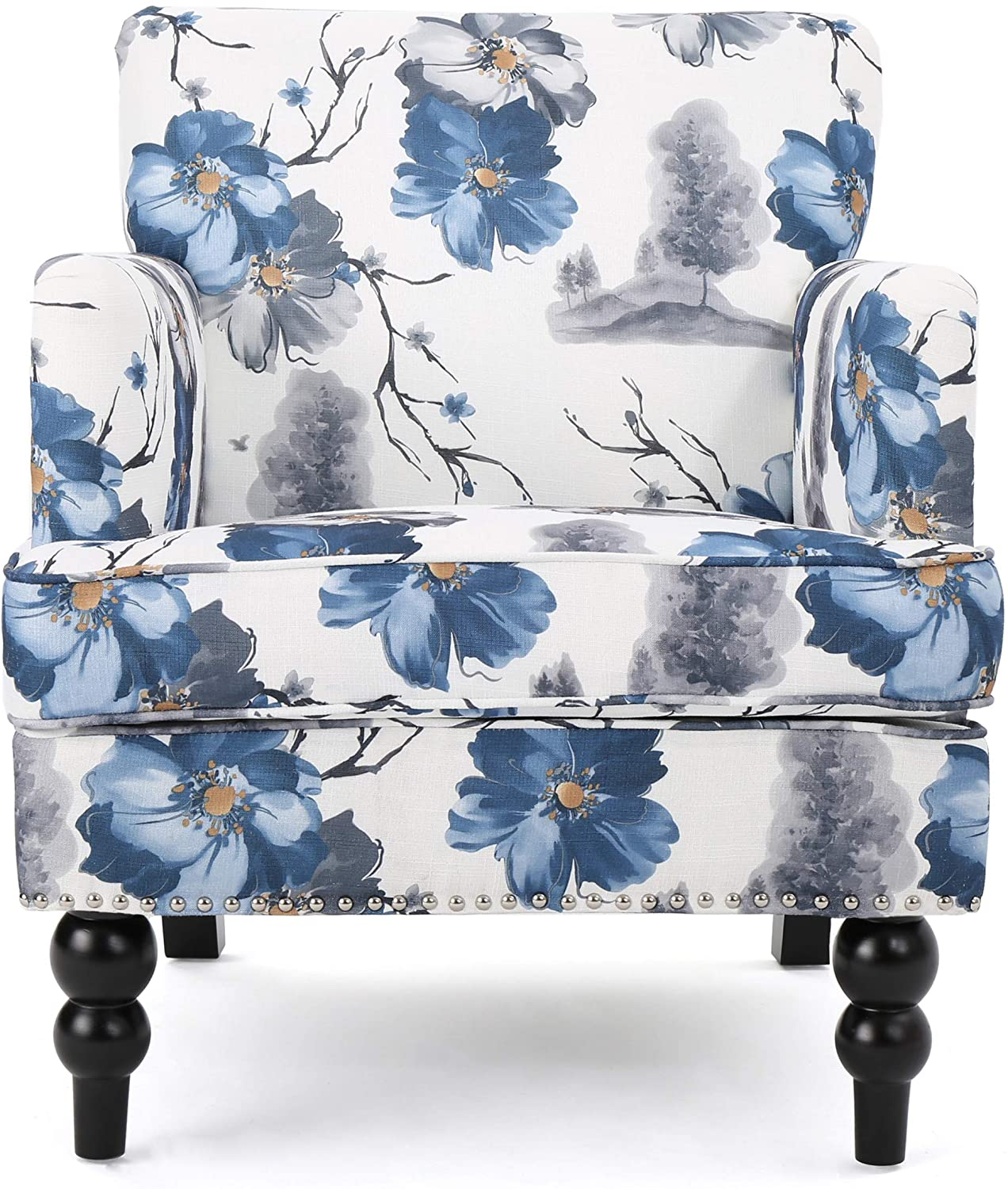Studded Fabric Floral Print Club Chair