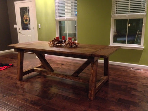 "Shop hawkinswoodshop.com for solid wood & metal modern, traditional, contemporary, industrial, custom & farmhouse furniture including our Custom 4x4 Truss Built-to-Order Dining Table Choose Own Length x 38"" x 30"".  Ask about our free nationwide freight delivery and low cost white glove assembly services."