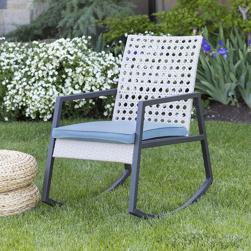 Enjoy fast, free nationwide shipping!  Family owned and operated, HawkinsWoodshop.com is your one stop shop for affordable furniture.  Shop HawkinsWoodshop.com for solid wood & metal modern, traditional, contemporary, industrial, custom, rustic, and farmhouse furniture including our Cane Weave Outdoor Patio Rocking Chair with Washable Cushions in Grey/Blue.