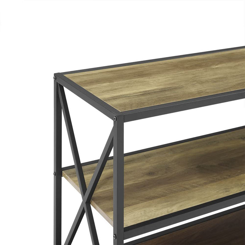 2 Shelf Industrial Wood Metal Bookcase