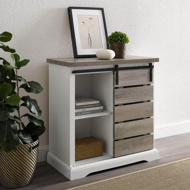 Enjoy fast, free nationwide shipping!  Family owned and operated, HawkinsWoodshop.com is your one stop shop for affordable furniture.  Shop HawkinsWoodshop.com for solid wood & metal modern, traditional, contemporary, industrial, custom, rustic, and farmhouse furniture including our Modern Farmhouse Buffet Sideboard Kitchen Cabinet, 32 Inch in Grey Wash.