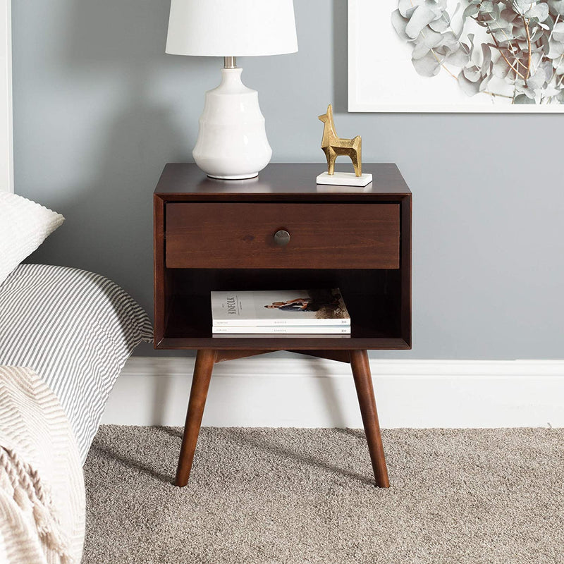 Enjoy fast, free nationwide shipping!  Owned by a husband and wife team of high-school music teachers, HawkinsWoodshop.com is your one stop shop for affordable furniture.  Shop HawkinsWoodshop.com for solid wood & metal modern, traditional, contemporary, industrial, custom, rustic, and farmhouse furniture including our Mid Century Modern Wood Nightstand and Storage End Table in Walnut.