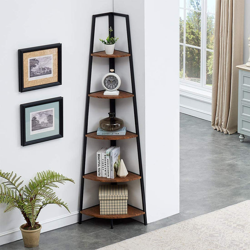 Industrial Tall Corner Bookshelf