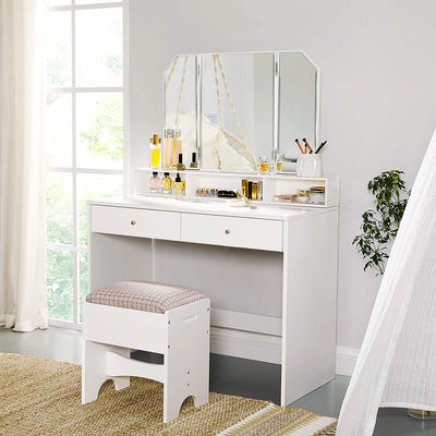 Enjoy fast, free nationwide shipping!  Family owned and operated, HawkinsWoodshop.com is your one stop shop for affordable furniture.  Shop HawkinsWoodshop.com for solid wood & metal modern, traditional, contemporary, industrial, custom, rustic, and farmhouse furniture including our White Tri-Fold Mirror Vanity Set.
