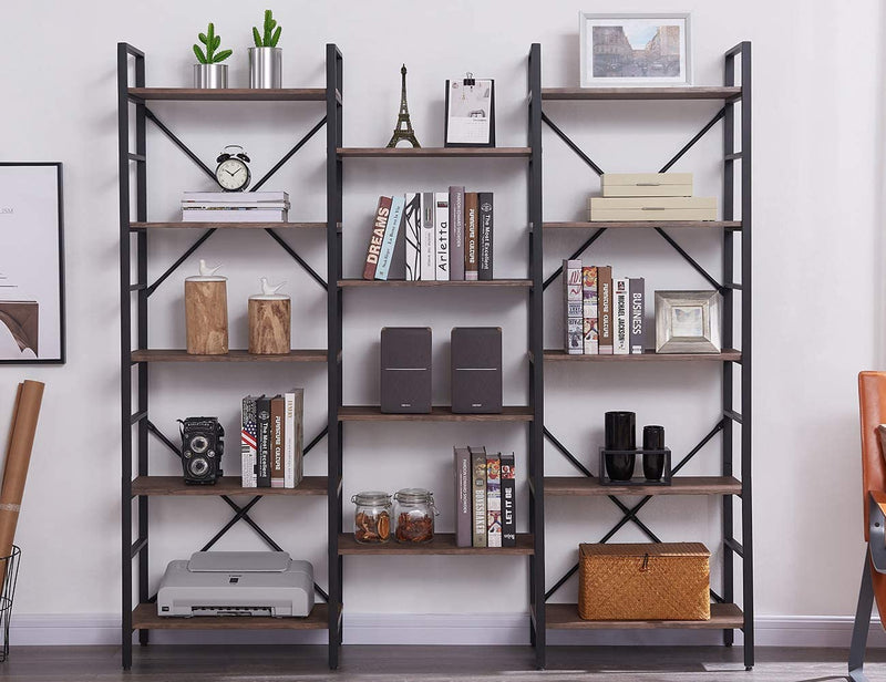 Triple Wide 5-Tier Bookshelf