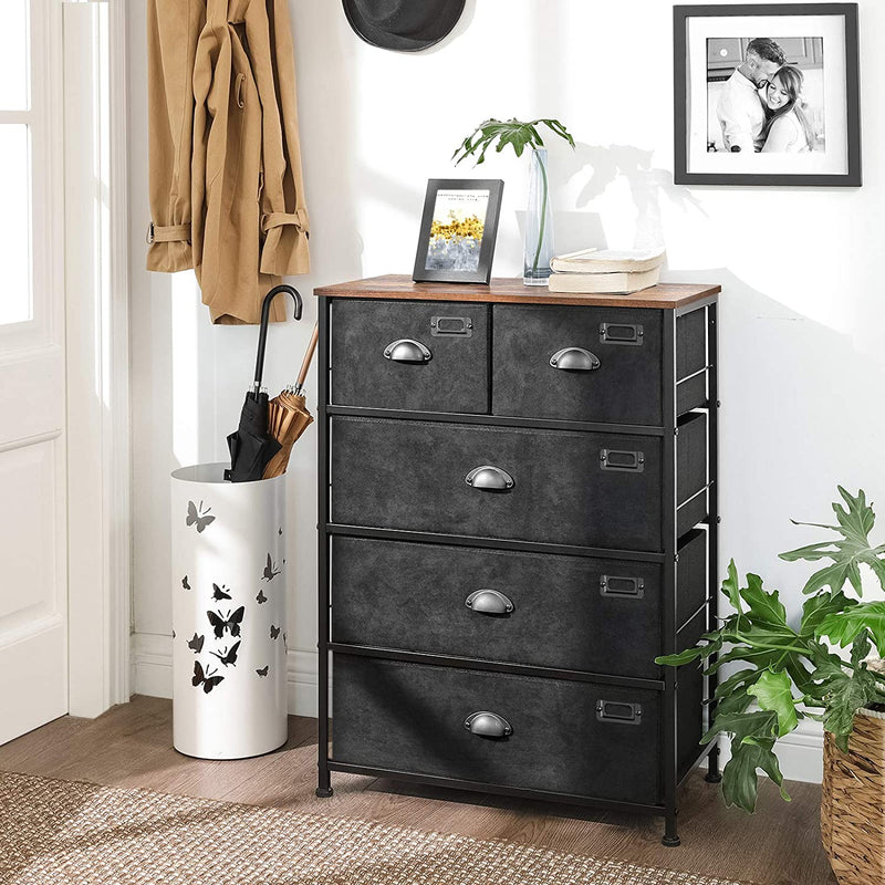 Enjoy fast, free nationwide shipping!  Owned by a husband and wife team of high-school music teachers, HawkinsWoodshop.com is your one stop shop for affordable furniture.  Shop HawkinsWoodshop.com for solid wood & metal modern, traditional, contemporary, industrial, custom, rustic, and farmhouse furniture including our 5 Tier Fabric Drawer Dresser.