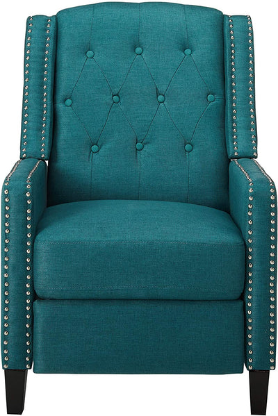 Tufted Fabric Recliner Chair in Dark Teal / Dark Brown