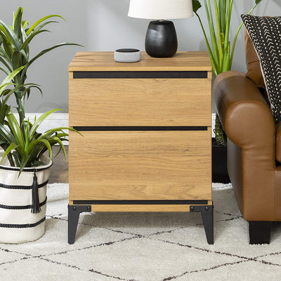 Enjoy fast, free nationwide shipping!  Family owned and operated, HawkinsWoodshop.com is your one stop shop for affordable furniture.  Shop HawkinsWoodshop.com for solid wood & metal modern, traditional, contemporary, industrial, custom, rustic, and farmhouse furniture including our Modern Wood 2 Drawer Storage End Table in English Oak.