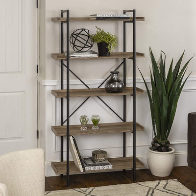 Enjoy fast, free nationwide shipping!  Family owned and operated, HawkinsWoodshop.com is your one stop shop for affordable furniture.  Shop HawkinsWoodshop.com for solid wood & metal modern, traditional, contemporary, industrial, custom, rustic, and farmhouse furniture including our 5 Shelf Industrial Wood Metal Bookcase Storage in Grey/Brown, 68 Inch.