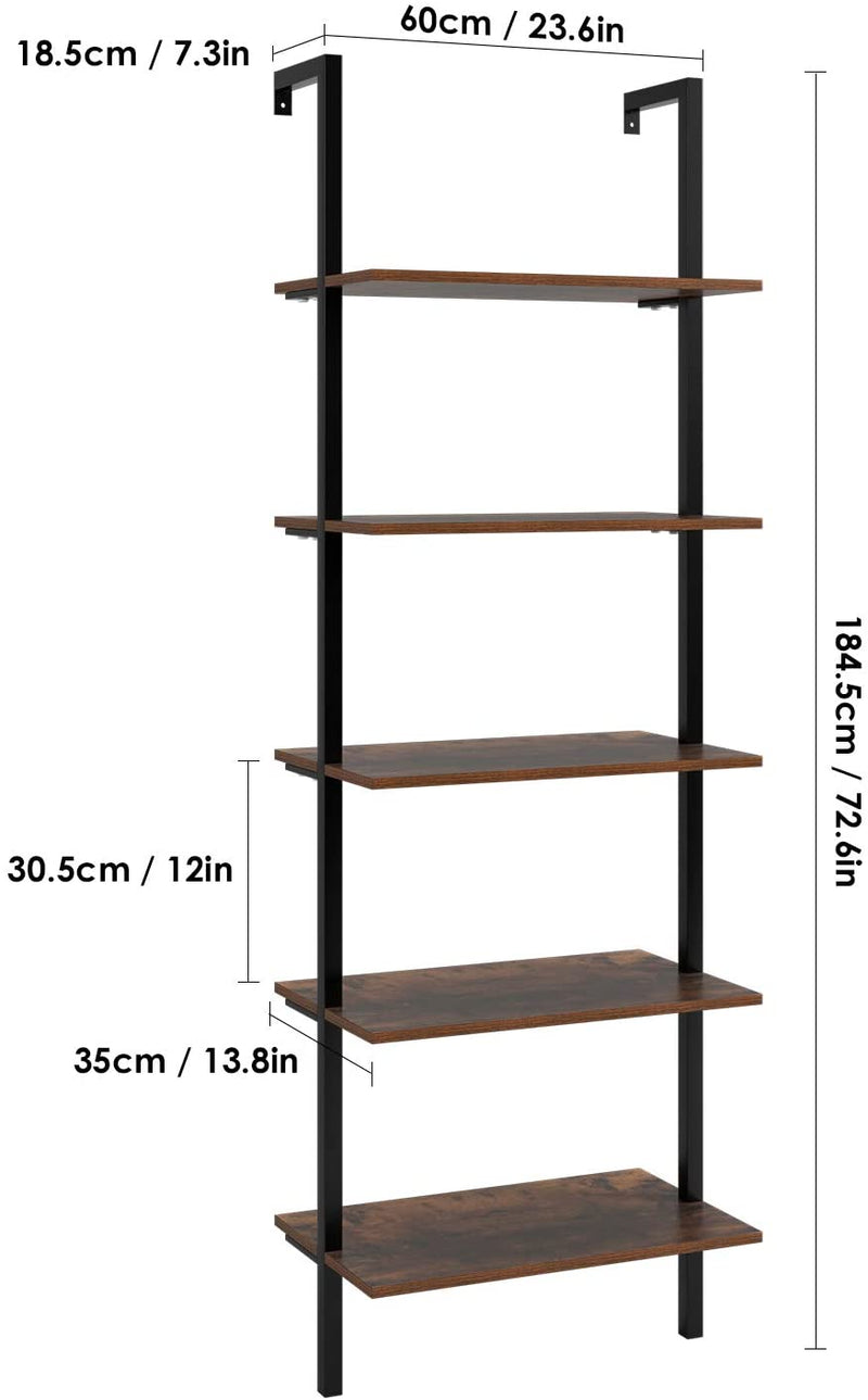 5-Tier Industrial Ladder Shelf