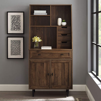 Enjoy fast, free nationwide shipping!  Family owned and operated, HawkinsWoodshop.com is your one stop shop for affordable furniture.  Shop HawkinsWoodshop.com for solid wood & metal modern, traditional, contemporary, industrial, custom, rustic, and farmhouse furniture including our Secretary Hutch Wood Desk with Keyboard Drawer Storage Cabinet, 64 Inch in Dark Walnut Brown.