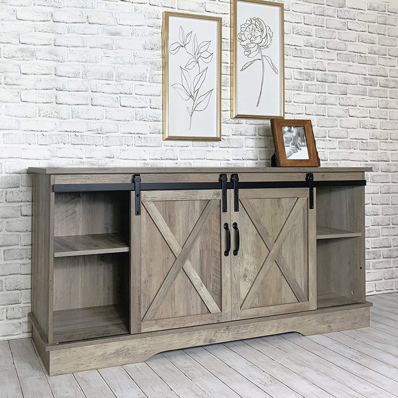 Washed Oak Sliding Barn Door TV Console