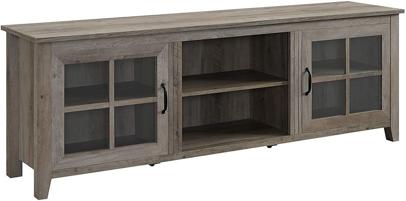 Grey Wash & Glass Large Farmhouse TV Console