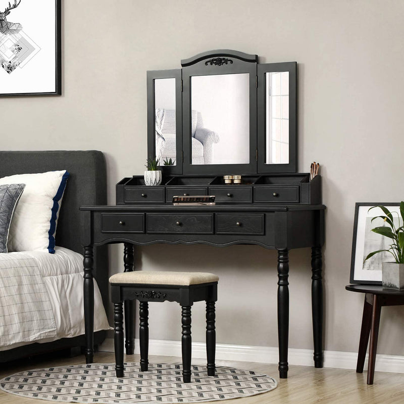 Enjoy fast, free nationwide shipping!  Family owned and operated, HawkinsWoodshop.com is your one stop shop for affordable furniture.  Shop HawkinsWoodshop.com for solid wood & metal modern, traditional, contemporary, industrial, custom, rustic, and farmhouse furniture including our Tri Fold Mirror Vanity Set in Black.