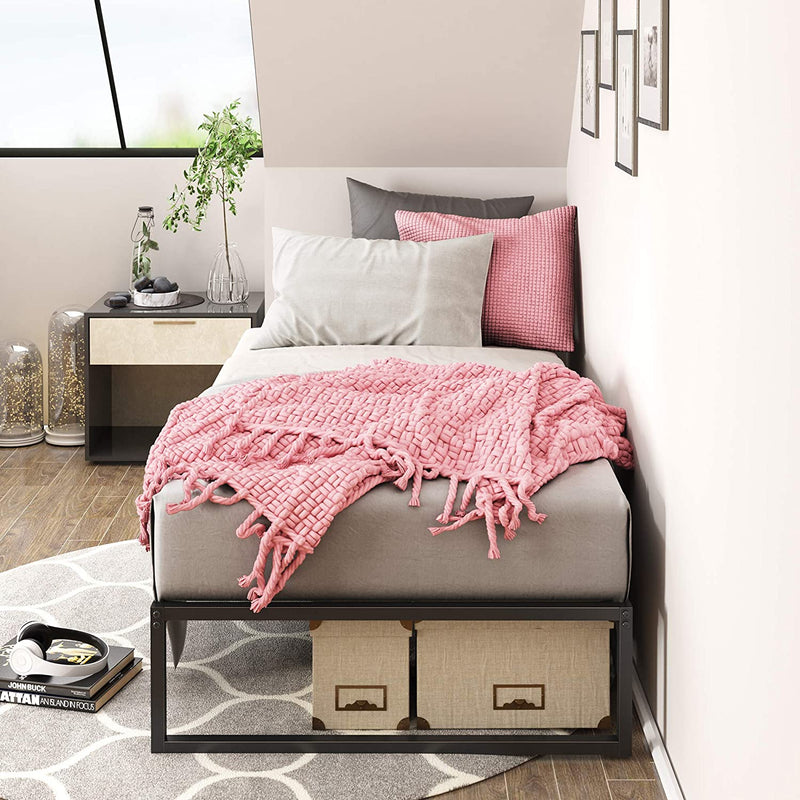 Platform Metal Bed Frame in Twin Size