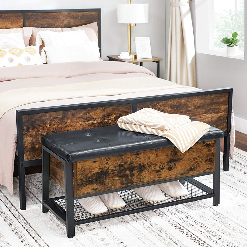 Industrial Storage Bench Rustic Brown and Black