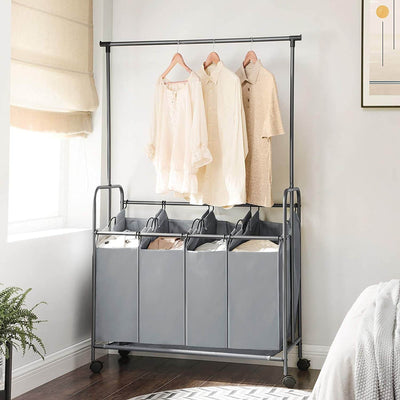 Enjoy fast, free nationwide shipping!  Family owned and operated, HawkinsWoodshop.com is your one stop shop for affordable furniture.  Shop HawkinsWoodshop.com for solid wood & metal modern, traditional, contemporary, industrial, custom, rustic, and farmhouse furniture including our 4 Bag Laundry Sorter with Hanging Bar.