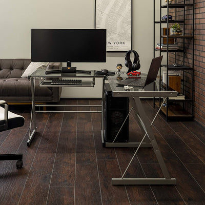 Enjoy fast, free nationwide shipping!  Family owned and operated, HawkinsWoodshop.com is your one stop shop for affordable furniture.  Shop HawkinsWoodshop.com for solid wood & metal modern, traditional, contemporary, industrial, custom, rustic, and farmhouse furniture including our Modern Corner L Shaped Glass Computer Workstation Single Desk in Smoke Grey.