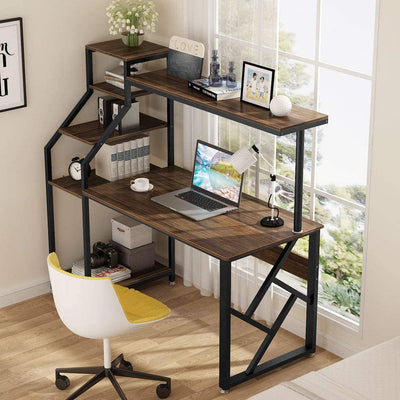 Enjoy fast, free nationwide shipping!  Owned by a husband and wife team of high-school music teachers, HawkinsWoodshop.com is your one stop shop for affordable furniture.  Shop HawkinsWoodshop.com for solid wood & metal modern, traditional, contemporary, industrial, custom, rustic, and farmhouse furniture including our Rustic Office Desk Computer Table w/ Hutch, Bookshelf and Tower Storage (Brown).