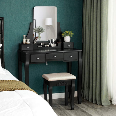 Enjoy fast, free nationwide shipping!  Family owned and operated, HawkinsWoodshop.com is your one stop shop for affordable furniture.  Shop HawkinsWoodshop.com for solid wood & metal modern, traditional, contemporary, industrial, custom, rustic, and farmhouse furniture including our Black Frameless Mirror Vanity Set with Cushioned Stool.