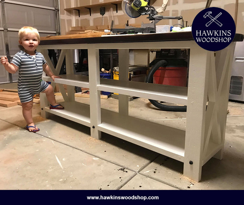 Rustic X Console Table - Hawkins Woodshop