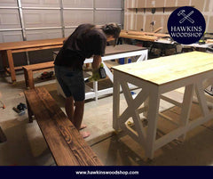 "Shop hawkinswoodshop.com for solid wood & metal modern, traditional, contemporary, industrial, custom & farmhouse furniture including our Custom Built-to-Order Desk Choose Own Length x 28"" W x 32"" H.  Ask about our free nationwide freight delivery and low cost white glove assembly services."