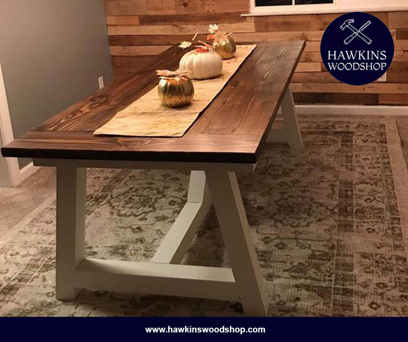 Shop hawkinswoodshop.com for discounted solid wood & metal modern, traditional, contemporary, custom & farmhouse furniture including our Truss Beam X Base Rustic Farmhouse Dining Table.  Ask about our free delivery & assembly collections today!