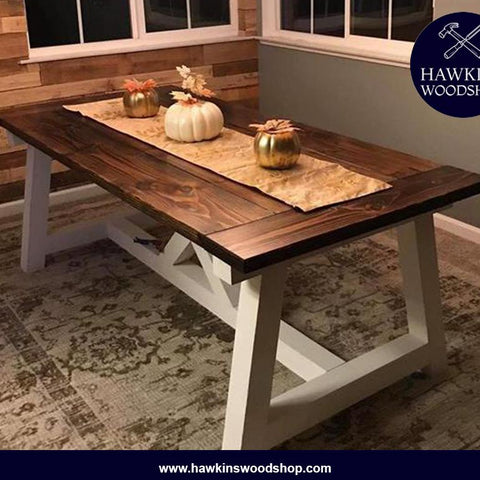 "Shop hawkinswoodshop.com for solid wood & metal modern, traditional, contemporary, industrial, custom & farmhouse furniture including our Custom Truss Beam X Built-to-Order Dining Table Choose Own Length x 38"" x 30"".  Ask about our free nationwide freight delivery and low cost white glove assembly services."