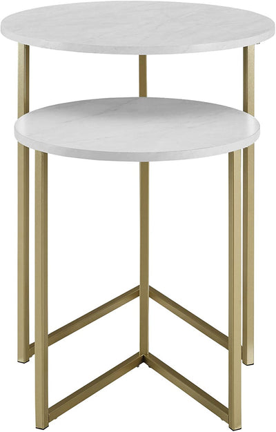 Enjoy fast, free nationwide shipping!  Family owned and operated, HawkinsWoodshop.com is your one stop shop for affordable furniture.  Shop HawkinsWoodshop.com for solid wood & metal modern, traditional, contemporary, industrial, custom, rustic, and farmhouse furniture including our Modern Round Metal Base Nesting Set End Table, Set of 2 in White Marble/Gold.
