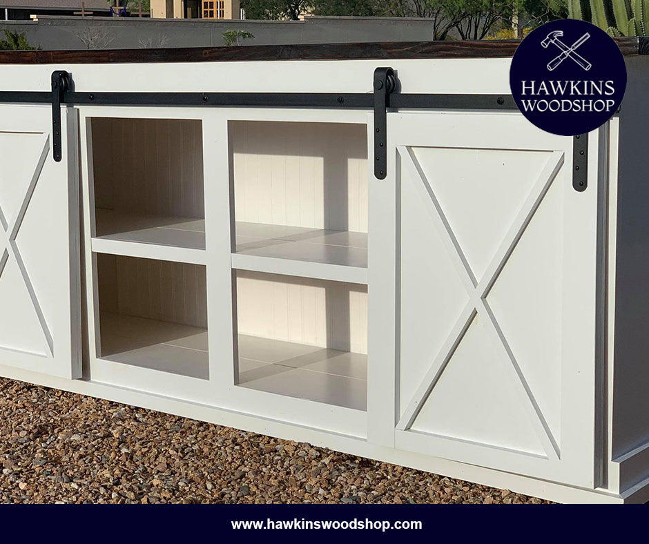 "Shop hawkinswoodshop.com for solid wood & metal modern, traditional, contemporary, industrial, custom, rustic, and farmhouse furniture including our Custom Sliding Barn Door Console Choose Your Own Length x 18""W x 37"" H.  Ask about our free nationwide delivery service."