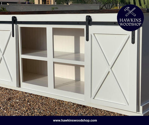 "Shop hawkinswoodshop.com for discounted solid wood & metal modern, traditional, contemporary, custom & farmhouse furniture including our Custom Sliding Barn Door Console Choose Your Own Length x 18""W x 37"" H. Ask about our free nationwide freight delivery and low cost assembly services."
