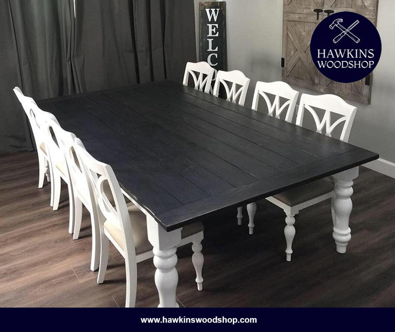 "Shop hawkinswoodshop.com for discounted solid wood & metal modern, traditional, contemporary, custom & farmhouse furniture including our Country Farmhouse Rustic Turned Leg Dining Table - Choose your Own Length x 38"" W x 30"" H.  Ask about our free delivery & assembly collections today!"