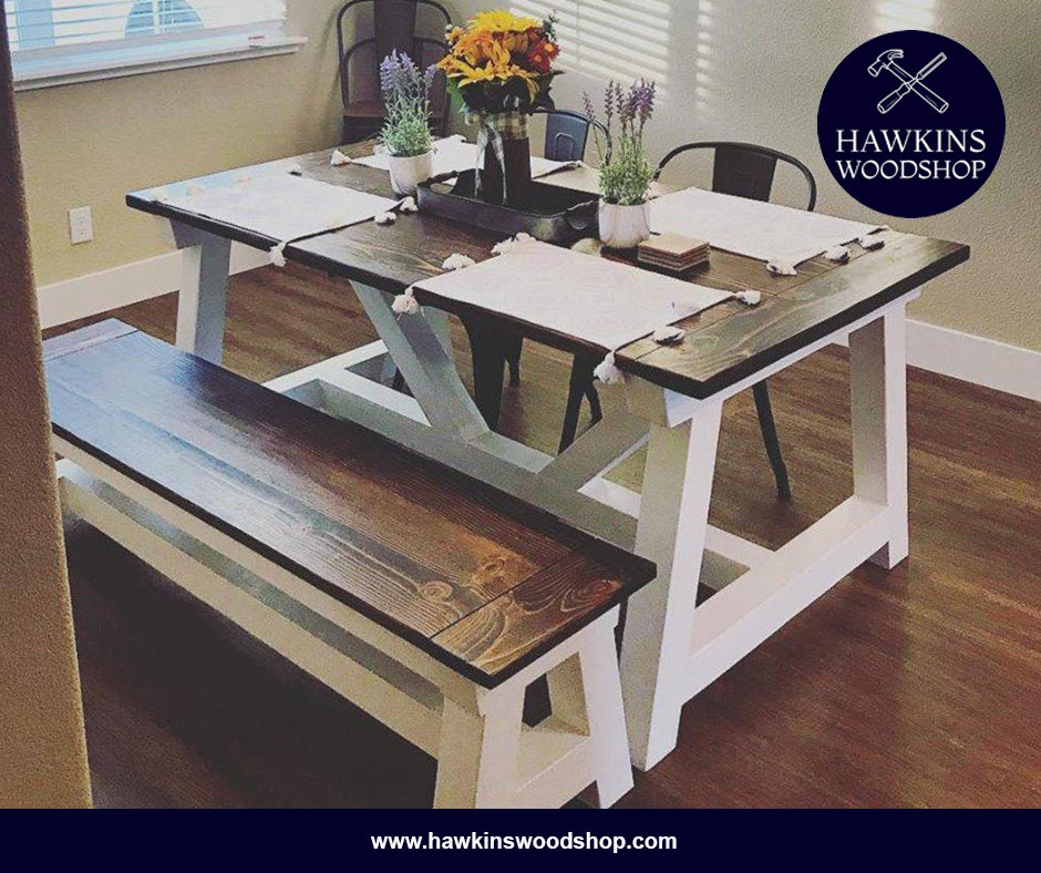 Shop hawkinswoodshop.com for discounted solid wood & metal modern, traditional, contemporary, custom & farmhouse furniture including our Restoration Hardware Inspired 4x4 Truss Beam Rustic Farmhouse Dining Table.  Ask about our free delivery & assembly collections today!