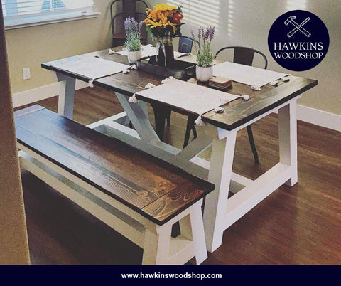 "Shop hawkinswoodshop.com for discounted solid wood & metal modern, traditional, contemporary, custom & farmhouse furniture including our Custom 4x4 Truss Built-to-Order Dining Table Choose Own Length x 38"" x 30"". Ask about our free nationwide freight delivery and low cost assembly services."