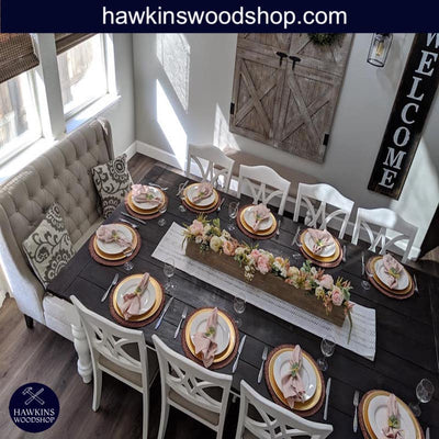 "Enjoy fast, free nationwide shipping!  Family owned and operated, HawkinsWoodshop.com is your one stop shop for affordable furniture.  Shop HawkinsWoodshop.com for solid wood & metal modern, traditional, contemporary, industrial, custom, rustic, and farmhouse furniture including our Custom Country Farmhouse Rustic Turned Leg Dining Table - Choose your Own Length x 38"" W x 30"" H."