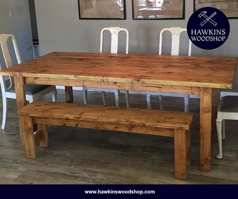 "Shop hawkinswoodshop.com for solid wood & metal modern, traditional, contemporary, industrial, custom & farmhouse furniture including our Custom Rustic Farmhouse Dining Table Choose Own Length x 38"" x 30"".  Ask about our free nationwide freight delivery and low cost white glove assembly services."