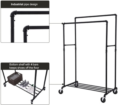 Enjoy fast, free nationwide shipping!  Family owned and operated, HawkinsWoodshop.com is your one stop shop for affordable furniture.  Shop HawkinsWoodshop.com for solid wood & metal modern, traditional, contemporary, industrial, custom, rustic, and farmhouse furniture including our Industrial Double Rail Pipe Clothes Rack.