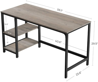 Ryan Industrial Farmhouse Computer Desk w/ Shelves in Grey or Rustic Brown