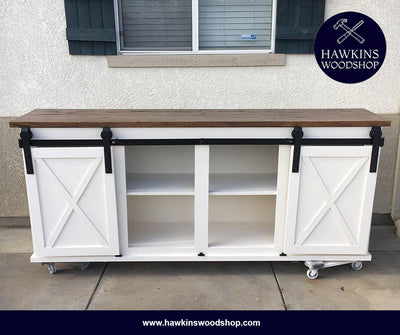 Sliding Barn Door Console Choose Your Own Length X 18 Quot W X
