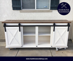 "Shop hawkinswoodshop.com for solid wood & metal modern, traditional, contemporary, industrial, custom & farmhouse furniture including our Custom Sliding Barn Door Console Choose Your Own Length x 18""W x 37"" H.  Ask about our free nationwide freight delivery and low cost white glove assembly services."