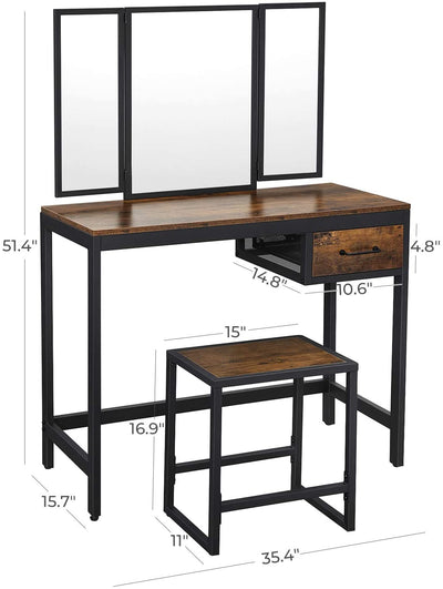Enjoy fast, free nationwide shipping!  Family owned and operated, HawkinsWoodshop.com is your one stop shop for affordable furniture.  Shop HawkinsWoodshop.com for solid wood & metal modern, traditional, contemporary, industrial, custom, rustic, and farmhouse furniture including our Ryan Tri-Fold Mirror Vanity Set.