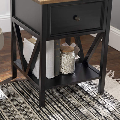 Enjoy fast, free nationwide shipping!  Owned by a husband and wife team of high-school music teachers, HawkinsWoodshop.com is your one stop shop for affordable furniture.  Shop HawkinsWoodshop.com for solid wood & metal modern, traditional, contemporary, industrial, custom, rustic, and farmhouse furniture including our Modern Farmhouse 1 Drawer Wood Square Accent Table, 19 Inch in Black.