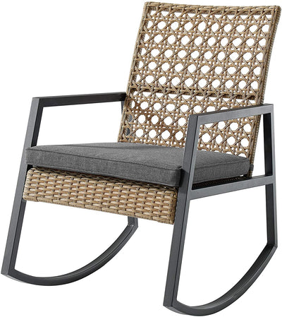 Enjoy fast, free nationwide shipping!  Family owned and operated, HawkinsWoodshop.com is your one stop shop for affordable furniture.  Shop HawkinsWoodshop.com for solid wood & metal modern, traditional, contemporary, industrial, custom, rustic, and farmhouse furniture including our Cane Weave Outdoor Patio Rocking Chair with Washable Cushions in Light Brown/Grey.