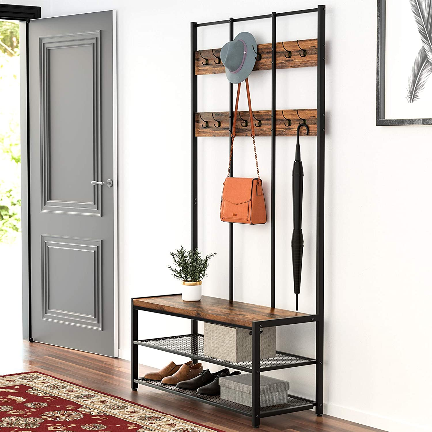 Industrial Large Coat Rack Stand